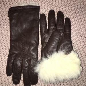 Accessories - FUR LINED SUPER SOFT BROWN LEATHER WOMEN'S GLOVES